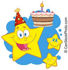 felice, stella, presa a terra, uno, torta compleanno