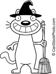 felice, strega, cartone animato, gatto