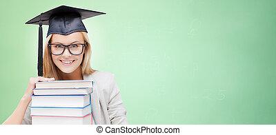 felice, studente, in, consiglio mortaio, berretto, con,...