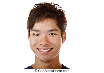 felice, studente, sorridente, asiatico