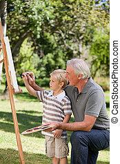felice, suo, nipote, nonno