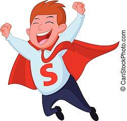 felice, superhero, uomo affari, mosca