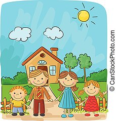 felice, terra, contro, famiglia, cartone animato