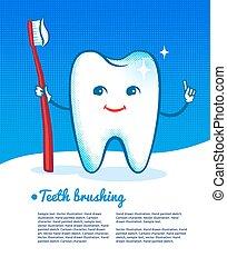 felice, toothbrush., dente
