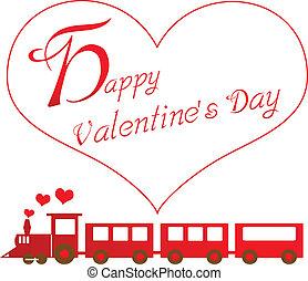 felice, treno, giorno, valentines
