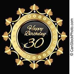 felice, trenta, compleanno, oro, disegno