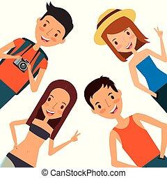 felice, turista, viaggiare, uomini, vacanza, vestiti, donne