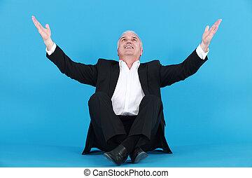 felice, uomo affari, ringraziare, dio