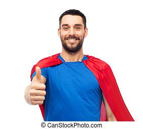felice, uomo, in, rosso, superhero, capo, esposizione, pollici