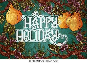 felice, vacanza, iscrizione, con, mela cotogna, frutte, e, fiori, sullo sfondo