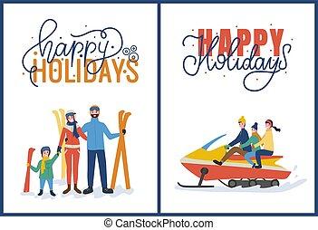 felice, vacanze, con, sciare, e, snowmobiling, vettore