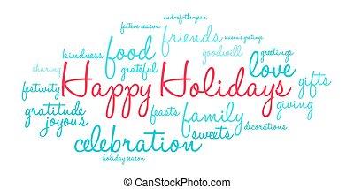 felice, vacanze, parola, nuvola