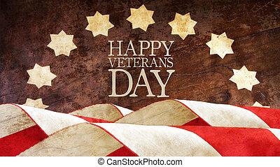 felice, veterani, day., bandiere