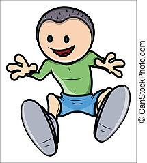 felice, vettore, -, cartone animato, capretto