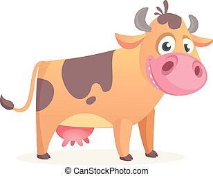 felice, vettore, cow., cartone animato