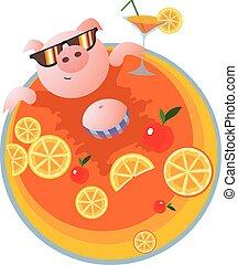 felice, vettore, stagno, illustrazione, maiale