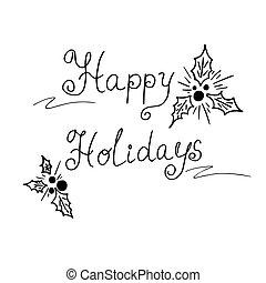 felice, vettore, testo, illustrazione, vacanze
