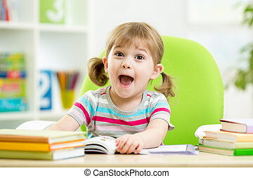felice, vivaio, tavola, libro lettura, capretto