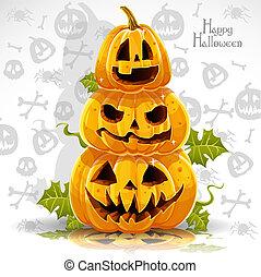 felice, zucche, terribile, bandiera, halloween