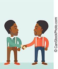 felicemente, handshaking., tipi, due, africano-americano