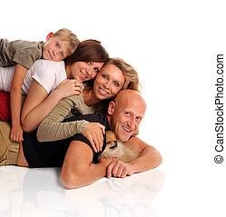 felicidad, familia , con, un, perro, 3