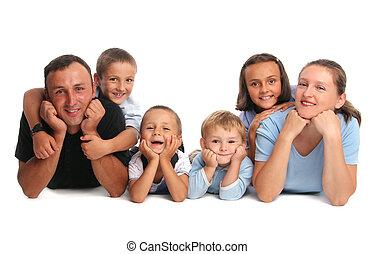 felicidad, familia , teniendo, muchos, niños