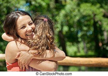 felicidad, -, madre, con, ella, niño