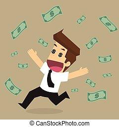 felicidade, dinheiro, homem negócios