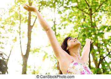 felicidade, e, relaxe, ligado, natureza