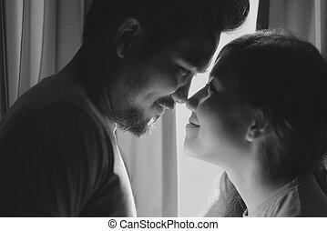 felicidade, e, romanticos, cena, de, amor, pares, sócios, fazer, olho