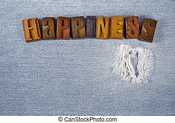 felicidade, em, letterpress, tipo