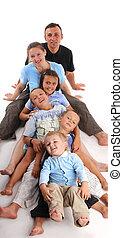 felicidade, grande, família