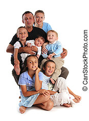 felicidade, grande, família cinco crianças