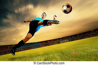 felicidade, jogador de futebol, ligado, campo, de, olimpic, estádio, ligado, amanhecer, céu