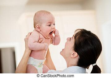 felicidade, -, mãe, com, bebê