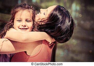 felicidade, -, mãe, com, dela, criança