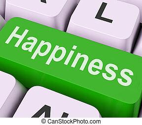 felicidade, tecla, meios, prazer, ou, alegria