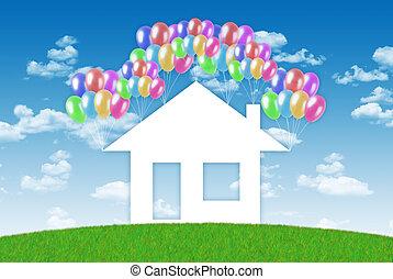felicità, di, detenere, uno, casa