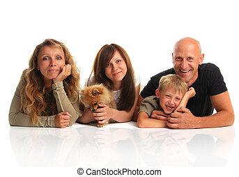 felicità, famiglia, con, uno, cane, 2