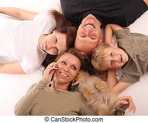 felicità, famiglia, con, uno, cane