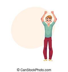 felicità, tripudio, giovane, applauso, eccitamento, tipo, ragazzo, uomo, saltare