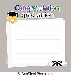 felicitación, graduación, blanco, plano de fondo