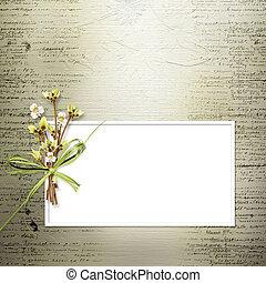 felicitación, ramitas, invitación, flores, o, tarjeta, ramo