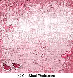 felicitación, valentines, corazones, feriado, día, tarjeta