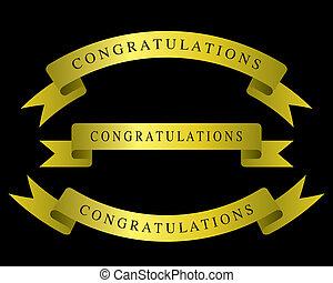 felicitaciones, cinta de oro