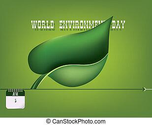 felicitaciones, para, mundo, ambiente, día