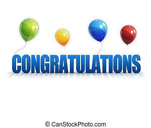 felicitaciones, plano de fondo, 3d, globos