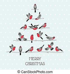 felicitatie, -, boompje, vogels, uitnodiging, vector, retro, kerstmis kaart