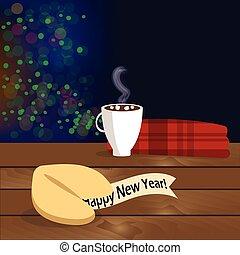 felicitatie, houten, illustratie, koekje, tafel, fortuin, kerstmis