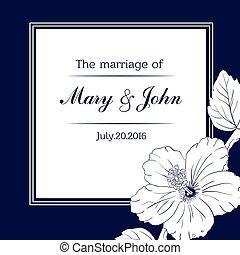 felicitatie, of, uitnodigingskaart, mal, met, hibiscus, flowers., vector, illustration.